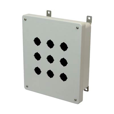 Allied Moulded Products AM1084P9 10x8x4 Fiberglass Pushbutton Enclosure with 9 Holes, 30.5 mm