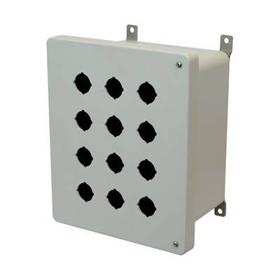 Allied Moulded Products AM1086HP12 10x8x6 Fiberglass Pushbutton Enclosure with 12 Holes, 30.5 mm