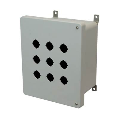 Allied Moulded Products AM1086HP9 10x8x6 Fiberglass Pushbutton Enclosure with 9 Holes, 30.5 mm