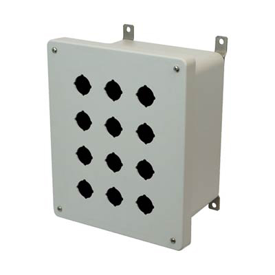 Allied Moulded Products AM1086P12 10x8x6 Fiberglass Pushbutton Enclosure with 12 Holes, 30.5 mm
