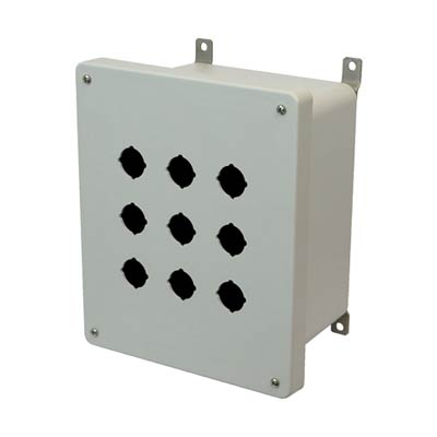 Allied Moulded Products AM1086P9 10x8x6 Fiberglass Pushbutton Enclosure with 9 Holes, 30.5 mm
