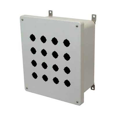 Allied Moulded Products AM1206P16 12x10x6 Fiberglass Pushbutton Enclosure with 16 Holes, 30.5 mm
