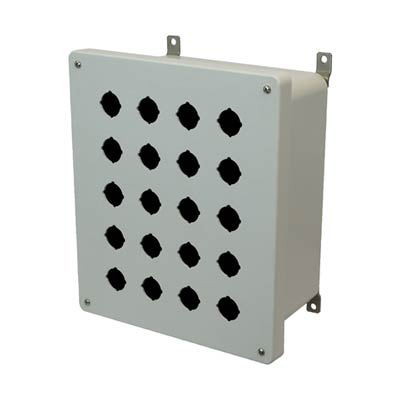 Allied Moulded Products AM1206P20 12x10x6 Fiberglass Pushbutton Enclosure with 20 Holes, 30.5 mm