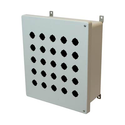 Allied Moulded Products AM1426HP25 14x12x6 Fiberglass Pushbutton Enclosure with 25 Holes, 30.5 mm