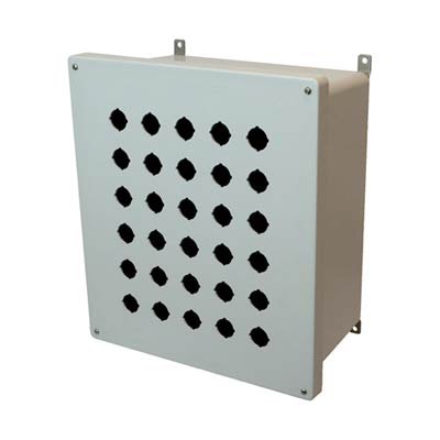Allied Moulded Products AM1648P30 16x14x8 Fiberglass Pushbutton Enclosure with 30 Holes, 30.5 mm
