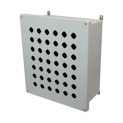 Allied Moulded Products AM1868P42 18x16x8 Fiberglass Pushbutton Enclosure with 42 Holes, 30.5 mm