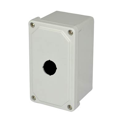 Allied Moulded Products AM1PB 7x4x4 Fiberglass Pushbutton Enclosure with 1 Hole, 30.5 mm