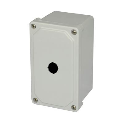 Allied Moulded Products AM1PB22 7x4x4 Fiberglass Pushbutton Enclosure with 1 Hole, 22.5 mm