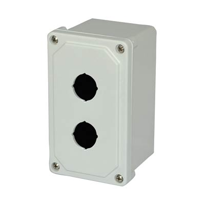 Allied Moulded Products AM2PB 9x4x4 Fiberglass Pushbutton Enclosure with 2 Holes, 30.5 mm