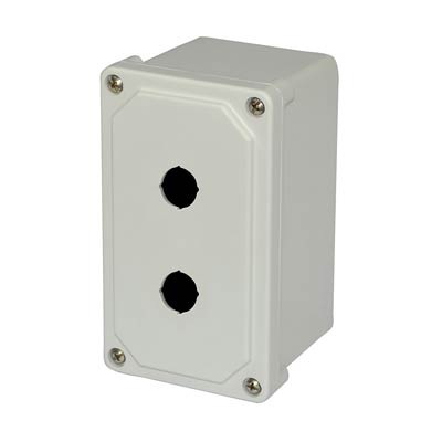 Allied Moulded Products AM2PB22 9x4x4 Fiberglass Pushbutton Enclosure with 2 Holes, 22.5 mm
