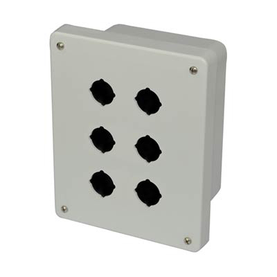 Allied Moulded Products AM864P6 8x6x4 Fiberglass Pushbutton Enclosure with 6 Holes, 30.5 mm