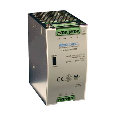 Altech PS-12024 120W Single/Three Phase DIN Rail Switching Power Supply
