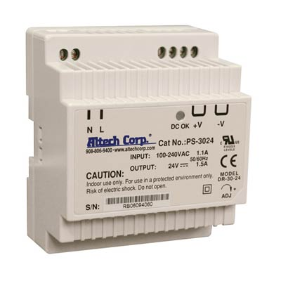 Altech PS-3024 30W Single Phase DIN Rail Switching Power Supply