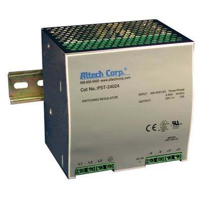 Altech PST-24024 240W Single/Three Phase DIN Rail Switching Power Supply