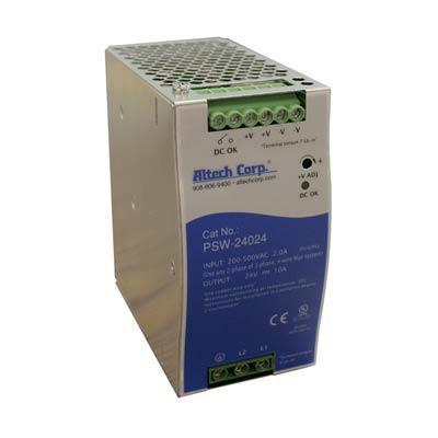 Altech PSW-24048 240W Single/Two Phase DIN Rail Switching Power Supply