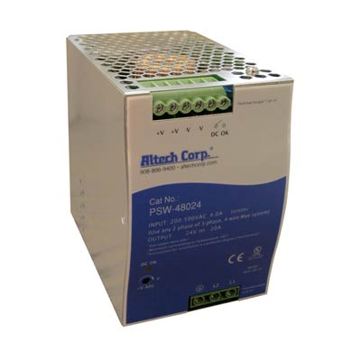 Altech PSW-48024 480W Single/Two Phase DIN Rail Switching Power Supply