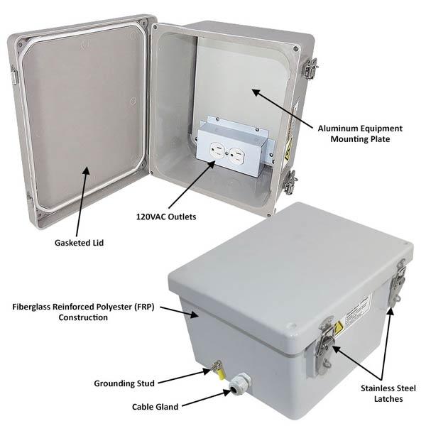 "Altelix 10x8x6"" Fiberglass Enclosure with 120V Power NF100806A1_02"