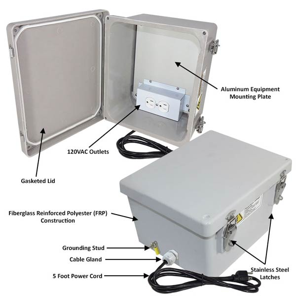 """Altelix 10x8x6"""" Fiberglass Enclosure with 120V Power NF100806A1C_02"""