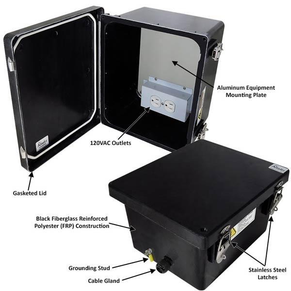 """Altelix 10x8x6"""" Fiberglass Enclosure with 120V Power NF100806BA1_02"""