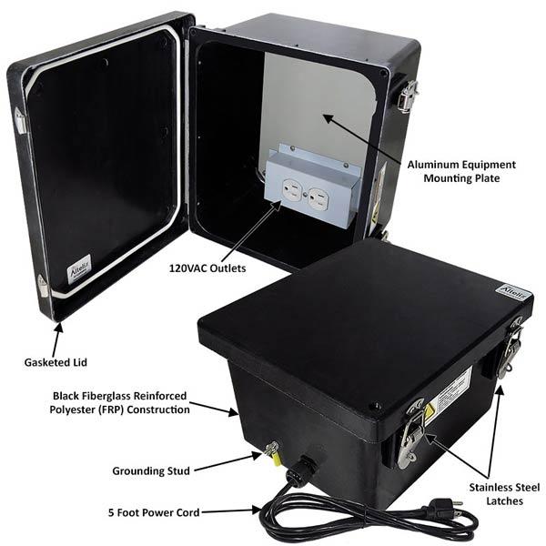 """Altelix 10x8x6"""" Fiberglass Enclosure with 120V Power NF100806BA1C_02"""