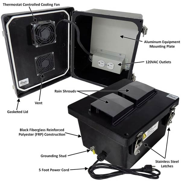 "Altelix 10x8x6"" Fiberglass Enclosure with Cooling Fan & 120V Power NF100806BVFA1C_02"
