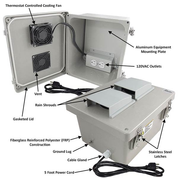 "Altelix 10x8x6"" Fiberglass Enclosure with Cooling Fan & 120V Power NF100806VFA1C_02"