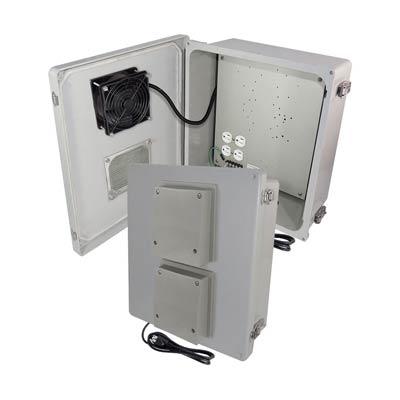 "Altelix 14x12x6"" Fiberglass Enclosure with Cooling Fan & 120V Power | NF141206VFA1C"