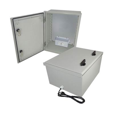 "Altelix 16x12x8"" Fiberglass Enclosure with 120V Power 