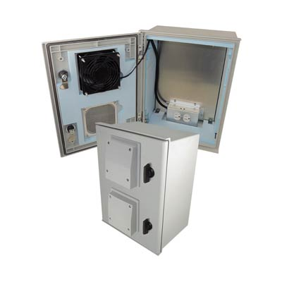 "Altelix 16x12x8"" Fiberglass Enclosure with Heating, Cooling & 120V Power 