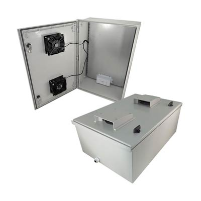 "Altelix 24x16x9"" Fiberglass Enclosure with Cooling Fans & 120V Power 