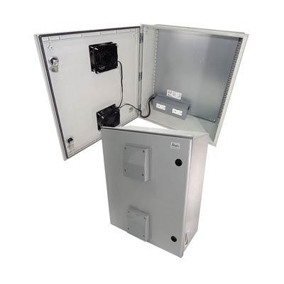 "Altelix 24x20x9"" Fiberglass Enclosure with Cooling Fans & 120V Power | NFC242009VFA1"