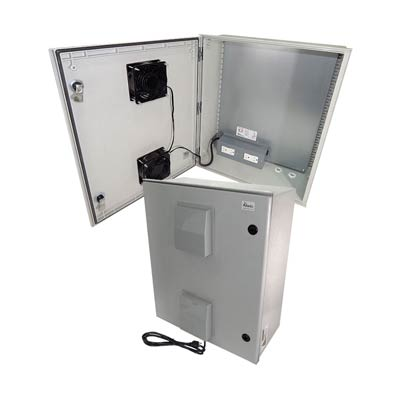 "Altelix 24x20x9"" Fiberglass Enclosure with Cooling Fans & 120V Power | NFC242009VFA1C"