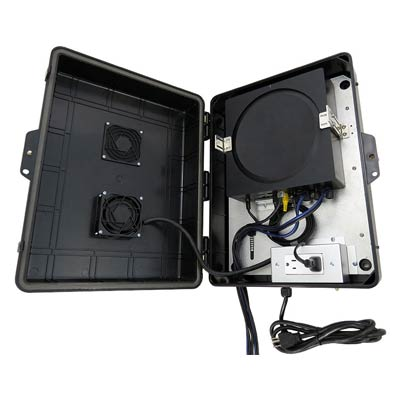 "Altelix 17x13x6"" SONOS AMP Outdoor Enclosure with Cooling Fan & 120V Power + USB-A | NP17AVBK-2SA"