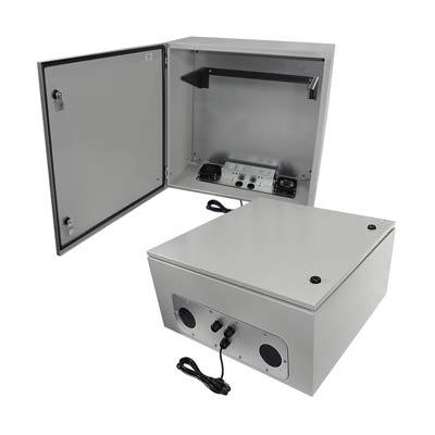 "Altelix 24x24x12"" Metal Enclosure with 4U Vertical Mount, Cooling & 120V Power | NS242412VFA1C-RV4U"
