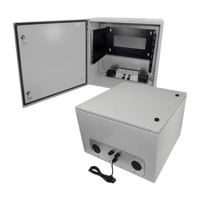"Altelix 24x24x16"" Metal Enclosure with 6U Rack Mount, Cooling & 120V Power | NS242416VFA1C-R6U"
