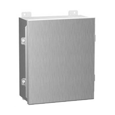 "Hammond Manufacturing 1414N4SSI 10x8x4"" 304 Stainless Steel Wall Mount Electrical Enclosure"