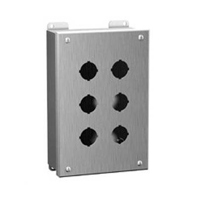 "Hammond Manufacturing 1435MSSK 10x9x3"" 304 Stainless Steel Push Button Electrical Enclosure with 9 Holes, 22.5 mm"