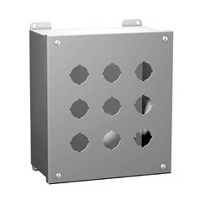 Hammond Manufacturing 1437MH 10x6x5 Metal Pushbutton Enclosure with 6 Holes, 22.5 mm