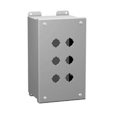 Hammond Manufacturing MPB12 10x7x4 Metal Pushbutton Enclosure with 12 Holes, 22.5 mm