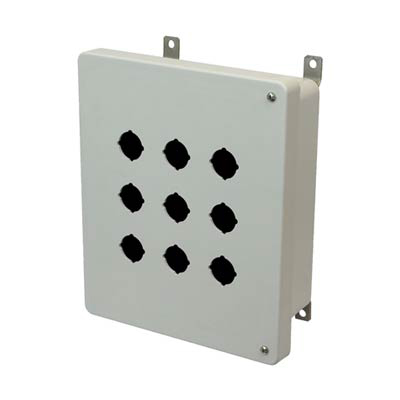 Hammond Manufacturing PJ1084HP9 10x8x4 Fiberglass Pushbutton Enclosure with 9 Holes, 30.5 mm