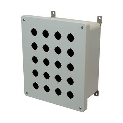 Hammond Manufacturing PJ12106P20 12x10x6 Fiberglass Pushbutton Enclosure with 20 Holes, 30.5 mm