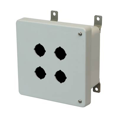 Hammond Manufacturing PJ664HP4 6x6x4 Fiberglass Pushbutton Enclosure with 4 Holes, 30.5 mm