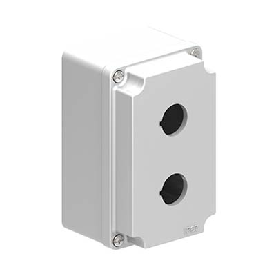 Lovato LPZM2A8 5x3x3 Metal Pushbutton Enclosure with 2 Holes, 22.5 mm