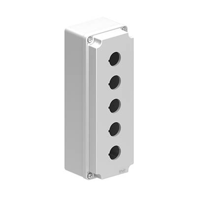 Lovato LPZM5A8 9x3x3 Metal Pushbutton Enclosure with 5 Holes, 22.5 mm