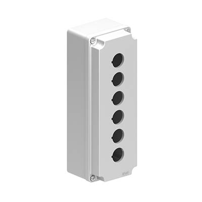 Lovato LPZM6A8 9x3x3 Metal Pushbutton Enclosure with 6 Holes, 22.5 mm