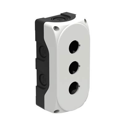 Lovato LPZP3A8 6x3x2 Polycarbonate Pushbutton Enclosure with 3 Holes, 22 mm
