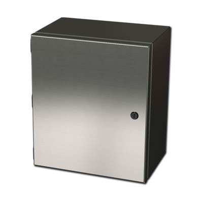 "Saginaw Control & Engineering SCE-1008ELJSS 10x8x4"" 304 Stainless Steel Wall Mount Electrical Enclosure"