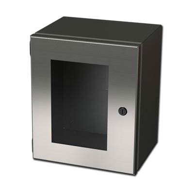 "Saginaw Control & Engineering SCE-1008ELJWSS 10x8x4"" 304 Stainless Steel Wall Mount Electrical Enclosure"