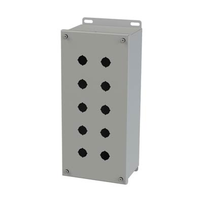 Saginaw Control & Engineering SCE-10PBXI 14x6x5 Metal Pushbutton Enclosure with 10 Holes, 22.5 mm