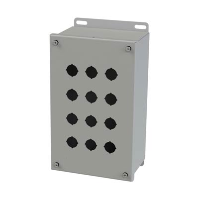 Saginaw Control & Engineering SCE-12PBGX 10x6x4 Metal Pushbutton Enclosure with 12 Holes, 22.5 mm